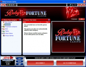 Lobby du casino Ruby Fortune